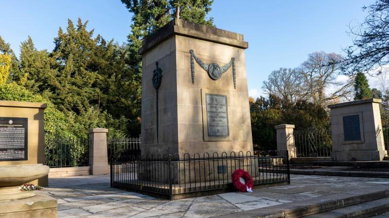 Dollar Park war memorial with wreath